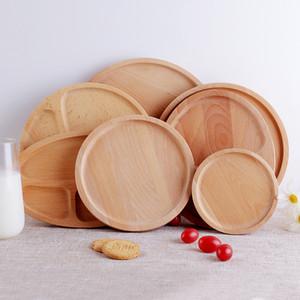 Plateau circulaire en bois de hêtre style japonais pain en bois massif plateau de gâteaux aux fruits plaque de repas restaurant plateaux à thé plateaux portables 4 9 x L1