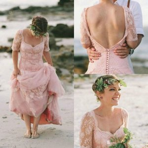 Latest Blush Pink Beach Wedding Dresses 2020 Lace Garden Bridal Gowns With Sleeve Full Length backless boho vintage Country wedding dress