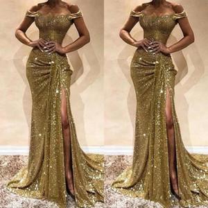 Bling Bling lentejuelas dividir vestidos de baile Sirena fuera del hombro Vestidos de noche Falda con volantes Corte de cremallera por arriba Volver Fiesta formal