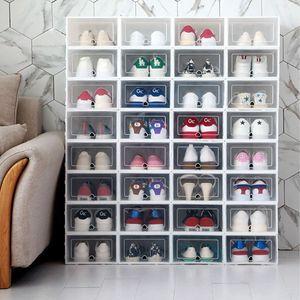 6PCS / Set espessamento sapatos aleta transparente sapatos gaveta caixa de plástico Caixas empilhável Caixa de armazenamento de sapatos Caixa de armazenamento Organizer CJ191128
