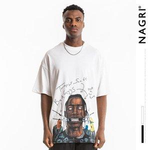 T-shirt Nagri européenne et de la rue américaine marque Retro figure hommes mode impression chanteur pop high street lâche hommes manches courtes