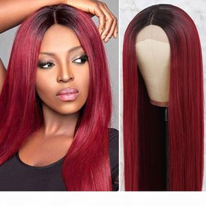 24inch Fashion Long Silky Straight Wig Synthetic Ombre Black to Burgundy Red Heat Resistant Lace Front Wig for Black Women Kanekalon Hair