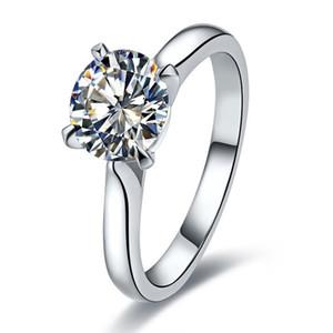 لم يسبق له مثيل على الإطلاق 2CTW 8MM G-H Moissanite Classic Ring تشارلز COLVARD WARRANTY 925 الفضة الاسترليني الذهب الأبيض خاتم اللون