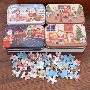 4 Styles Weihnachten Wooden Puzzle Spielzeug Eisen-Kasten Weihnachtsmann Cartoon Weihnachten Tiere Puzzles Kinder pädagogisches Spielzeug Puzzle Geschenke BH2436 ZX