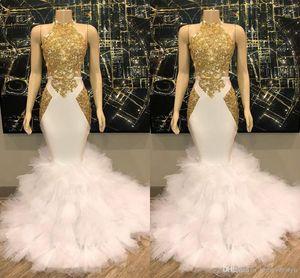 Superbe Halter Jewel cou sirène de bal robes longues d'or Applique dentelle Robes de soirée en tulle Volants partie de robe formelle Robes ogstuff
