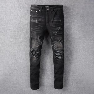 2020 Designer Brand Streetwear Ins Luxury Mike AMIRI Hip-hop Jeans Denim Pants with Patch Hole with Back Pocket Unique Style Lastest 28-40