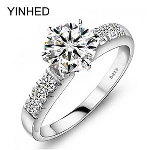 Yinhed Orijinal 100% Kadınlar Için 925 Ayar Gümüş Alyans Lüks 1 Karat Cz Diamant Nişan Yüzüğü Moda Takı Zp68 C19041601
