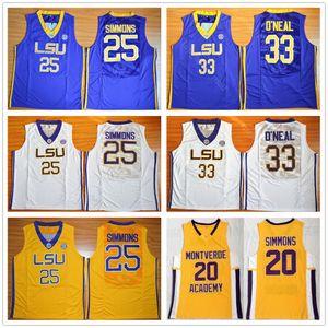 Escuela secundaria Montverde Academy Eagles Ben Simmons Jersey 20 Hombres Baloncesto LSU Tigers College 25 Simmons Jersey Sticthed Blanco Amarillo Púrpura