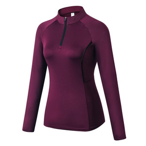 Women Autumn Zipper Long Sleeve Sports Fitness Yoga Training Quick-Drying Clothes T-Shirt Sweater Tops Blouse