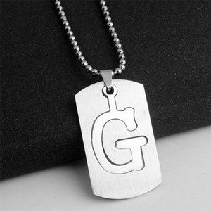 10g destacável aço inoxidável g 26 inglês letra inicial colar símbolo nome sinal americano alfabeto camada dupla camada texto sorte presentes homens, família, jóias de crianças