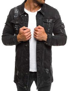 Erkek Ceket Erkekler Kovboy Coat Yüksek Moda Sonbahar Stil Dilenci Delik Denim Ceket Gevşek İnce Kol Kovboy Ceket XXXL