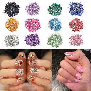 12 Couleur 2mm Cercle Perles Nail Art Conseils Strass Déco Paillettes Ongles Décoration avec Coque Dur Gel Acrylique UV