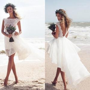 Пляж короткие свадебные платья 2019 сексуальный высокий низкий сексуальный спинки Bateau романтические девушки праздник ну вечеринку носить дешевые свадебное платье