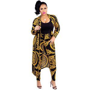 Women coat and leggings 2pcs 2019 New African Elastic Print Bazin Baggy Rock Style Pants Women Cardigan Long Trench Boho