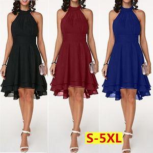 Ladies Wedding Evening Party Halter Neck Layered Cutout Back Sleeveless Chiffon Dress Plus Size S-5XL