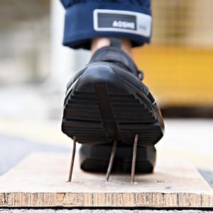 Nouvelle exposition Sécurité de la sécurité Chaussures Mode Sneakers Ultra-Lumière Soft Fantassis Hommes Respirant Anti-Smashing Steel Toe Bottes de travail