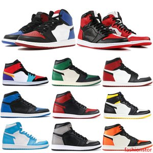 Chicago Banned 1 OG Mens Basketball Shoes Black Toe Shadow Top 3 Mens Designer Shoes Melo Storm Blue Barons Men Sneakers Trainers 7-13