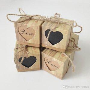 Caixa dos doces Coração romântico Kraft Gift Bag Com serapilheira Twine Wedding Chic favores Gift Box Suprimentos 5x5x5cm