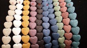 Corazón de la roca de lava collares pendientes Colores Esenciales mujeres Para 9 en forma de corazón A0097 aromaterapia joyas de piedra Collar de la manera difusor SISW