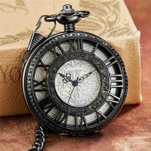 Retro Hollow Skeleton Steampunk Pattern Design Mechanical Pocket Watch Roman Numerals Hand Wind Fob Chain Clock