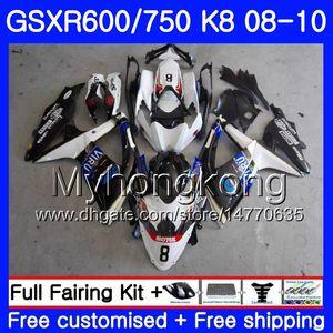 Corpo Para SUZUKI GSX-R600 GSXR 750 600 600CC GSXR600 branco fábrica 08 09 10 297HM.23 GSX R600 R750 GSX-R750 K8 GSXR750 2008 2009 2010 Carenagem