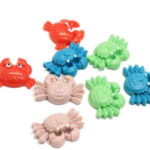 Novos produtos Rainbow Ocean Crab Cabochon Resina Kawaii Slime encantos cabelo Bow Centro plana volta Resina Planar