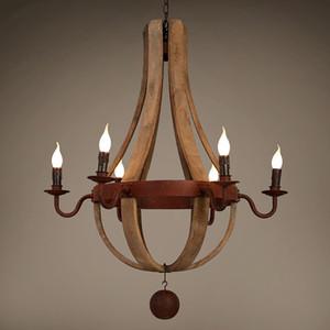 Fransız Barok ahşap avize retro ahşap varil e14 lambaları eski ferforje yemek odası oturma odası bar cafe Ev aydınlatma G182