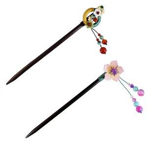 Printemps New Style Japonais long femmes Hairpins fleur bâton cheveux en bois Coiffe avec perle ronde Pendentif Accessoires cheveux Outils