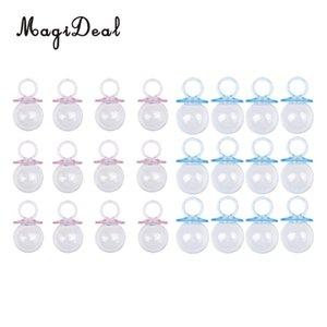 MagiDeal 24 Pieces Fillable Chupeta Baby Shower Batizado Partido género revela Candy Caixa garrafa do presente do favor Rosa + Azul