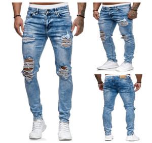 Hommes Trou bleu clair Jeans d'été Designer Pantalon Slim Crayon blanchies Mode Pantalons hommes rue vêtements de style