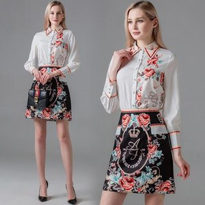 Womens Set Shirt+skirt Long Sleeve OL High-end Two Piece Set Spring Autumn Printed Blouse Skirt Fashion Elegant Lady Suits