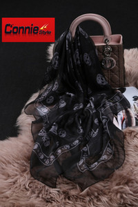 FASHION- Top qualité Crâne classique européen des femmes Designer Imprimer Foulard en soie élégant Mesdames Wrap