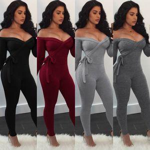 Sexy Deep V Strap Long Sleeve Schulterfrei Vier Farbe Jumpsuit Damen Nachtclub Jumpsuits Strampler lange Hosen Damenhose