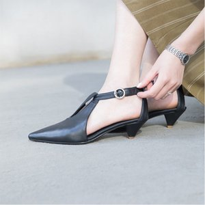 20200607 Spring and summer one word buckle sandals fairy wind Baotou middle heel single shoes girl thick heel pointed shoes
