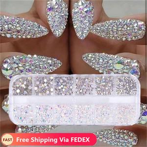 12 boîtes / set de 2 mm / 3 mm / 4 mm / 5 mm AB cristal strass diamant Gem 3D Glitter Nail Art Beauté Décoration