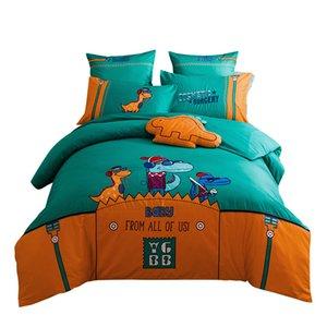 Kids Luxury KING SIZE Bedding Set Cotton Cartoon Dinosaur Design Green Children Queen Bedset Comforter Duvet Cover Bed sheet Set