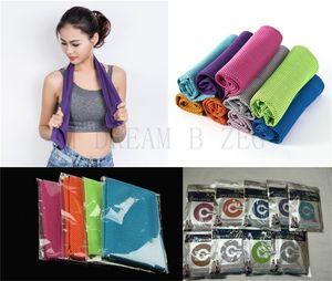 90 * 30 cm toalla fresca de toallas fría como el hielo de verano insolación Deportes Yoga ejercicio de enfriamiento Toalla de secado rápido transpirable suave Deportes para Niños Adultos