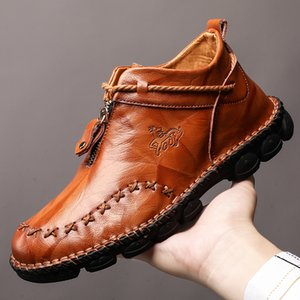 High Quality Genuine Leather Men Boots Fashion Zipper Shoes Male Cow Leather Man Brown Ankle Boots 2019 Autumn Plus Size 38-48 CJ191205