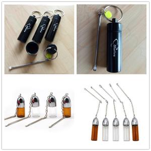 3.9cm / 5,7cm / 6cm Hight vidrio Botella de plástico Tabaco Dispensador bala Rocket Snorter olfatear con la píldora raspador de metal cubierta del recipiente para earpick cuchara