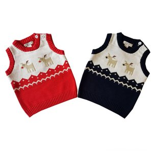 Christmas baby knit Hooded Coat Warm Jacket Outerwear Toddler Kid Girl Winter Padded Pom Cotton Deer Sweater Knitted Warm Vest
