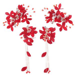 Mujeres Estilo Chino Diadema Rojo Pendientes Niñas Borla Flor Accesorios para el Cabello Novia Simulación de Boda Conjunto de Joyas de Perlas de Pelo