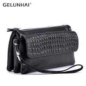 GELUNHAI mujeres del cuero genuino Cruzado Manguitos pequeños bolsos bolsos de hombro Messenger Bag lady uso diario multi-capa de la cremallera del bolso
