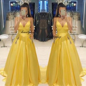 Sarı Gelinlik Modelleri 2019 Boncuk Cepler Örgün Akşam Parti Pageant Törenlerinde Özel Durum Elbise Dubai 2k19