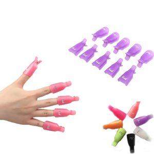 10pcs set Plastic Nail Art Soak Off Cap Clip UV Gel Polish Remover Wrap Tool Non-slip Nail Cover GGA3443-2