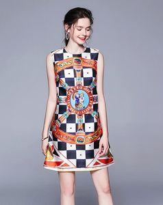 Retro style Plaid printing sleeveless women mini dresses crew neck A-line street style dresses above-knee sleeveless