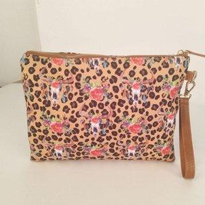 Make Up Cosmetic Bag Women Soft Canvas Leopard Zipper Pouch Fahsion Ladies Clutch Purse Wristlet Bags Travel Toiletries