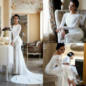 2020 modeste Sirène Robes De Mariée En Dentelle Appliqued perlé Berta Balayage Train Boho Plage Robe De Mariée Robes De Mariée Plus La taille robes de mariée