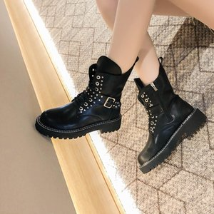 Metal Zipper Women's Ladies Strap Solid Winter Warm Shoes black belt buckle Ankle Short Motorcycle Boots bottes en cuir femme