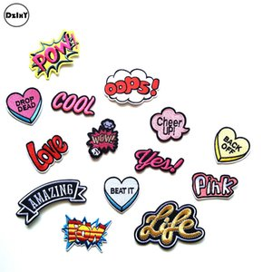 100 PCS Letter Words Embroidered Patches for Clothing DIY Stripes Applique Clothes Stickers Iron on Badges POW Parches @W