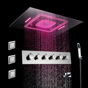 LED 샤워 헤드 세트 미스트 비 폭포 천장 마운트 샤워 꼭지 온도 조절 밸브 샤워 (304) 스테인레스 스틸 혼합